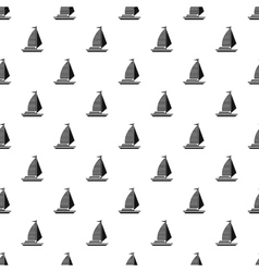 Yacht with sails pattern simple style vector