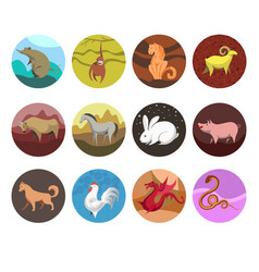 Zodiac set icons of zodiac animals for horoscope vector