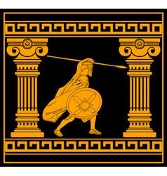Fantasy warrior with with columns third variant vector