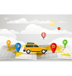 Travel vacation concept with the car vector