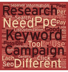 Keyword research for ppc text background wordcloud vector