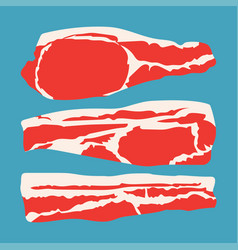 strips sliced bacon vector image