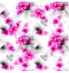 Seamless pattern with pink abstract flowers and vector