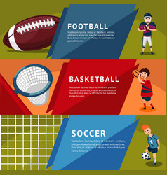 Colorful team sports horizontal banners vector