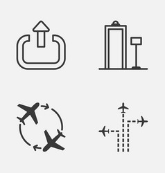 travel icons set collection of flight path vector image