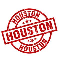 Houston red round grunge stamp vector
