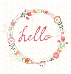 Floral romatic concept hello card with wreath vector