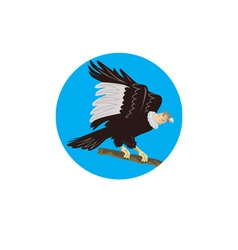 California condor perching branch circle retro vector