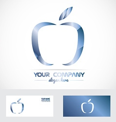 Blue apple 3d metal logo vector