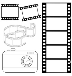 Set of film strips and photocamera vector