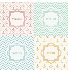 Set of mono line marine geometric seamless pattern vector