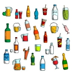 Beverages cocktails and drinks sketches vector