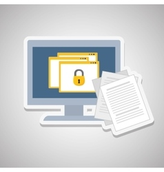 Padlock and document design vector