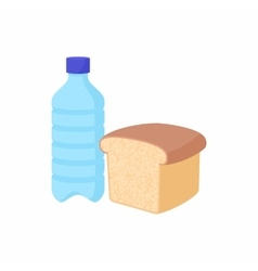 Bottle of water and bread icon cartoon style vector