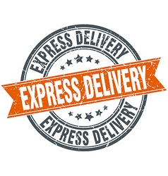 Express delivery round orange grungy vintage vector