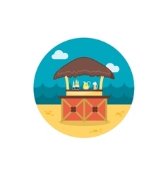 Cafe bar bungalows on the beach icon vacation vector