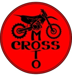Motocross dirt-bike round sign vector