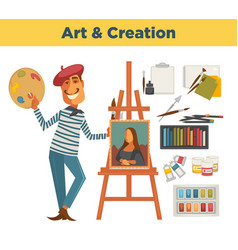 art and creation promotional poster with painter vector image vector image