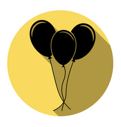 Balloons set sign flat black icon with vector