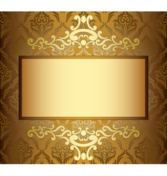 Beige vintage card with golden frame vector