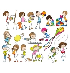 Cartoon Kids Set vector image vector image