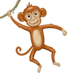 Cartoon monkey hanging in tree vector