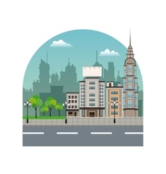City street buildings tree silhouette landscape vector