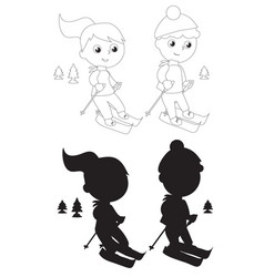 coloring young skiers silhouettes vector image vector image