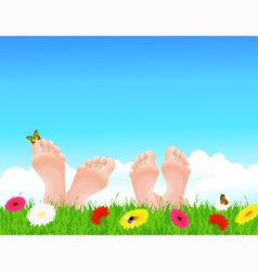 Couple lying on summer field vector image