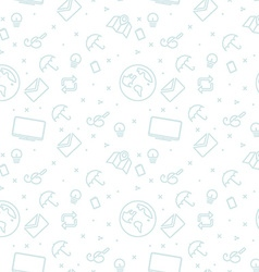 Different line style icons seamless pattern White vector image
