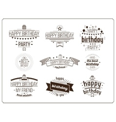 Festive Happy Birthday set vector image