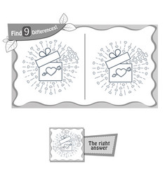 find 9 differences game gift valentine vector image vector image