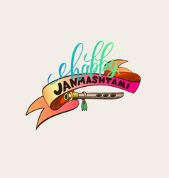 Happy janmashtami hand lettering inscription logo vector