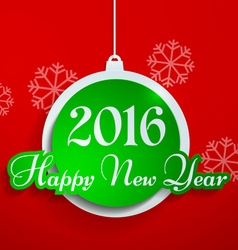 Happy New Year 2016 Cut from Paper on Red vector image