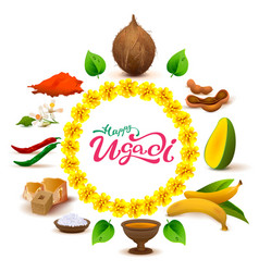 Happy ugadi lettering text set of accessories vector