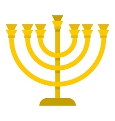 Jewish menorah with candles icon flat style vector
