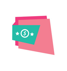 Label design star pink and green vector