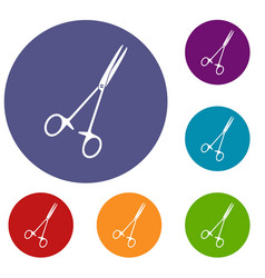 Medical clamp scissors icons set vector