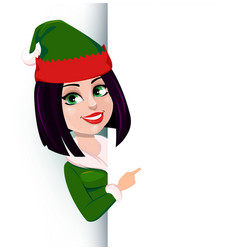 merry christmas and happy new year elf woman vector image