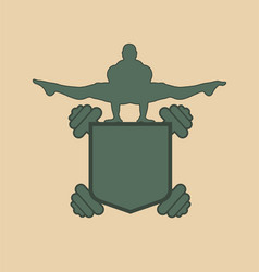muscular man posing on shield emblem vector image