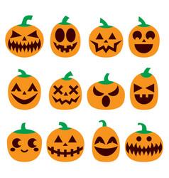 pumpkin icons set halloween scary faces de vector image