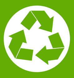 recycle sign icon green vector image vector image