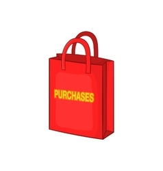 Red bag for shopping icon cartoon style vector image