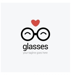 Round eye glasses logo with a heart love vector