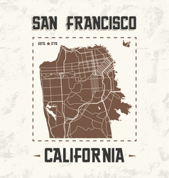 san francisco streets t shirt design with city map vector image