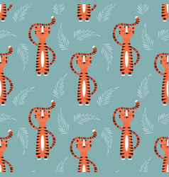 seamless pattern with cute jungle orange tiger on vector image