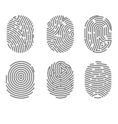 Set of fingerprint types with twisted lines signs vector