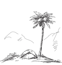 Sketch of camping tent vector image vector image