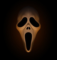Spooky halloween mask on dark brown background vector image