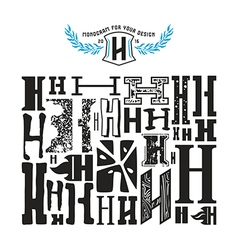 Stock set of monograms and initial letter h vector
